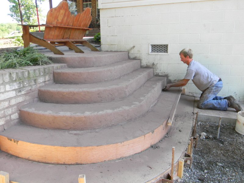 как сделать овальное крыльцо из бетона