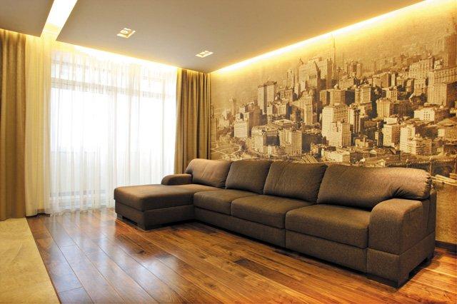 Дизайн фотообоев для гостиной фото