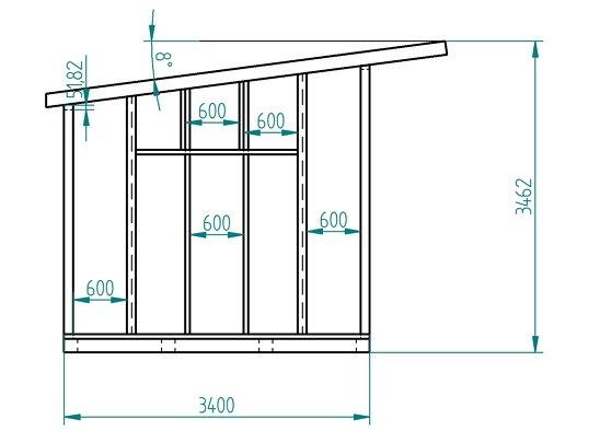 Хозблок с односкатной крышей