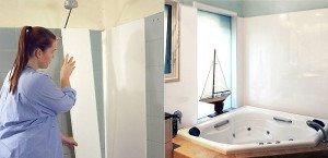 На фото - монтаж листовых панелей ПВХ на стены ванной, eto-vannaya.ru