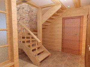 Фото деревянной лестницы с забежными ступенями, stoydiz.ru