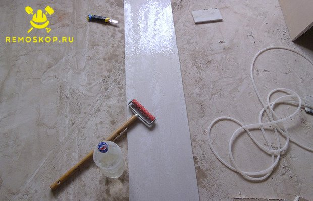 Обработка куска гипсокартона