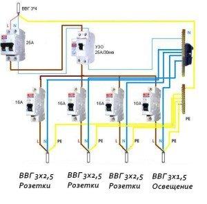 На фото - схема электропроводки в гараже, svoygarazh.pp.ua