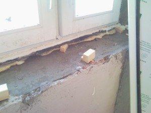 На фото - ремонт бетонного подоконника, stroyprosto.com.ua
