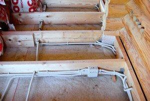 Фото скрытой электросети в срубе, accbud.ua