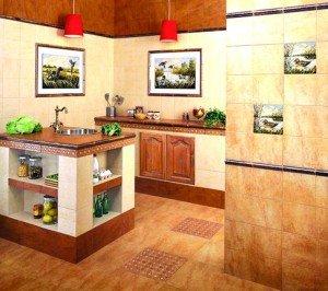 На фото - столешницы из терракотовой керамической плитки, altaystroy.ru