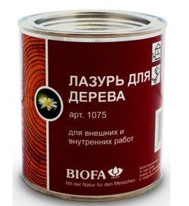 На фото - лазурь для покраски деревянного блок-хауса, biofa.ru