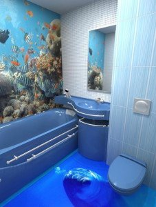 На фото - наливной пол в ванной, eto-vannaya.ru