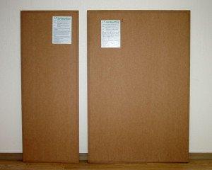 На фото - картонные плиты Экозвукоизол для звукоизоляции потолка, etnotrade.ru