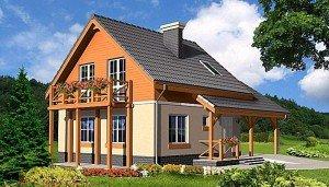 Простой вариант – дома с мансардой и балконом навесного типа