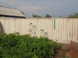 На фото - забор из шиферных листов, sdelai-zabor.ru