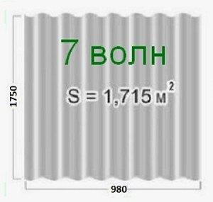 Фото размеров 7-волнового шифера, roof-tops.ru