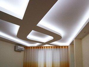 На фото - светодиодная подсветка потолка из гипсокартона, osnovam.ru