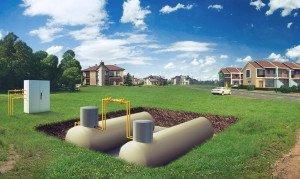 На фото - подключение к системе автономного газоснабжения двух домов, sruby-perm.ru