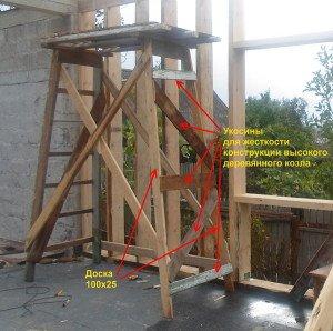 Фото фиксации стоек и упоров деревянных строительных лесов, svoydomik.info
