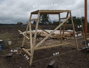 На фото - пирамидальная конструкция деревянных строительных лесов, sherienth.ucoz.ru