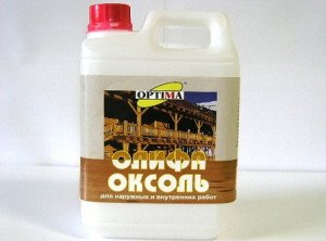 На фото - олифа Оксоль для наружных и внутренних работ, smesitut.ru