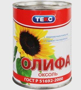 На фото - олифа Оксоль на основе подсолнечного масла, teks.ru