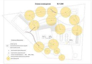 На фото - схема освещенности придомовой территории, 1polestnicam.ru