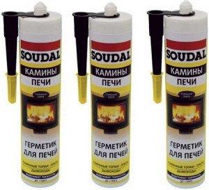 Фото высокотемпературных печных герметиков фирмы Soudal, teplowood.ru