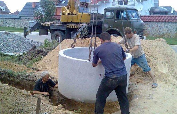 Погружение бетонных колец