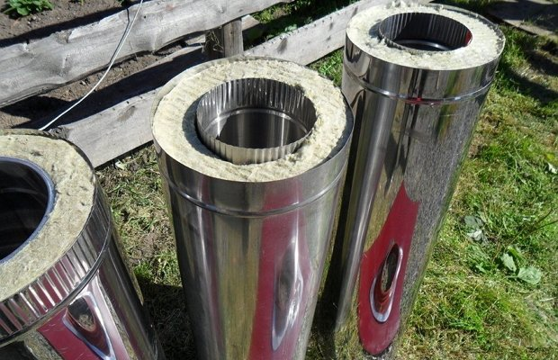 Дымоход из двух контуров металла