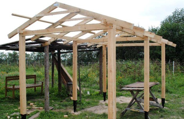 Установка стропил для двускатной крыши