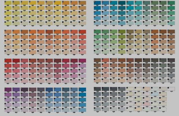 Цветовая гамма покрытий с латексной основой