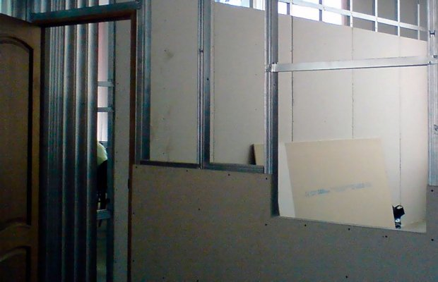 Установка стен из ГКЛ