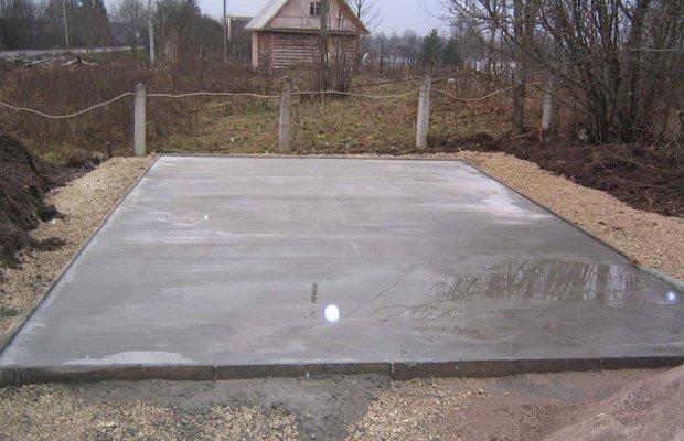 Фундамент из бетонной монолитной плиты