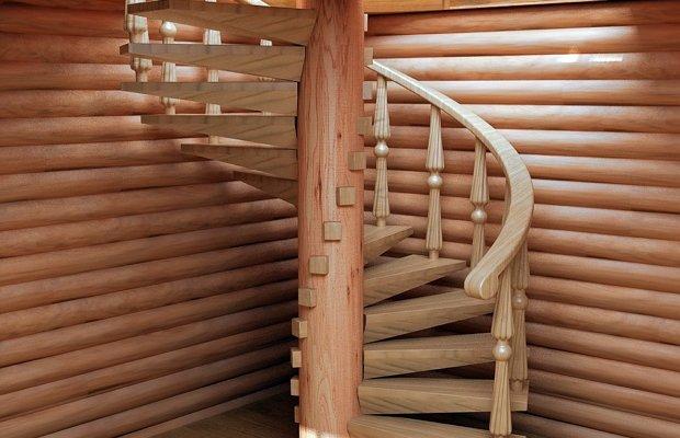 Винтовая лестница из дерева – компактная и изысканная