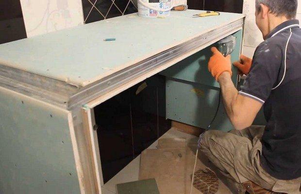 Столешница из гипсокартона – новый вид вашей ванной