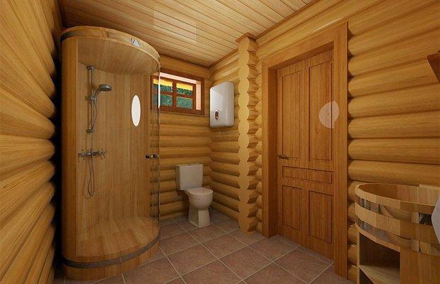 Особенности обустройства ванных в домах из древесины