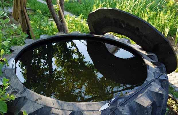 Бассейн из покрышки – популярный среди дачников вариант