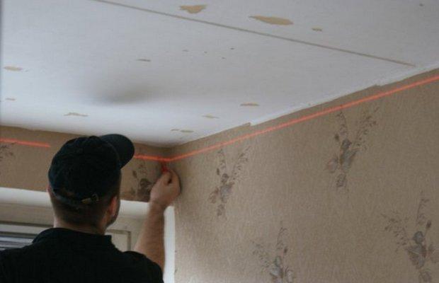 Разметка перед установкой потолка