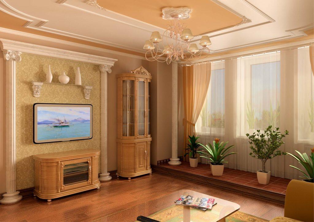 Неоклассическая гостиная с лепниной и другими рельефными элементами интерьера