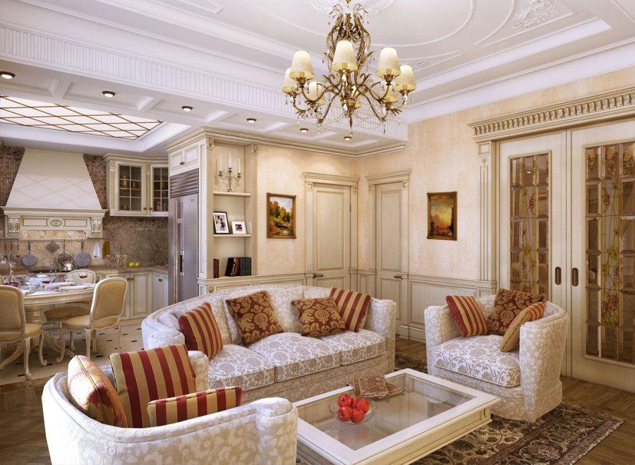 Общее освещение в неоклассической гостиной