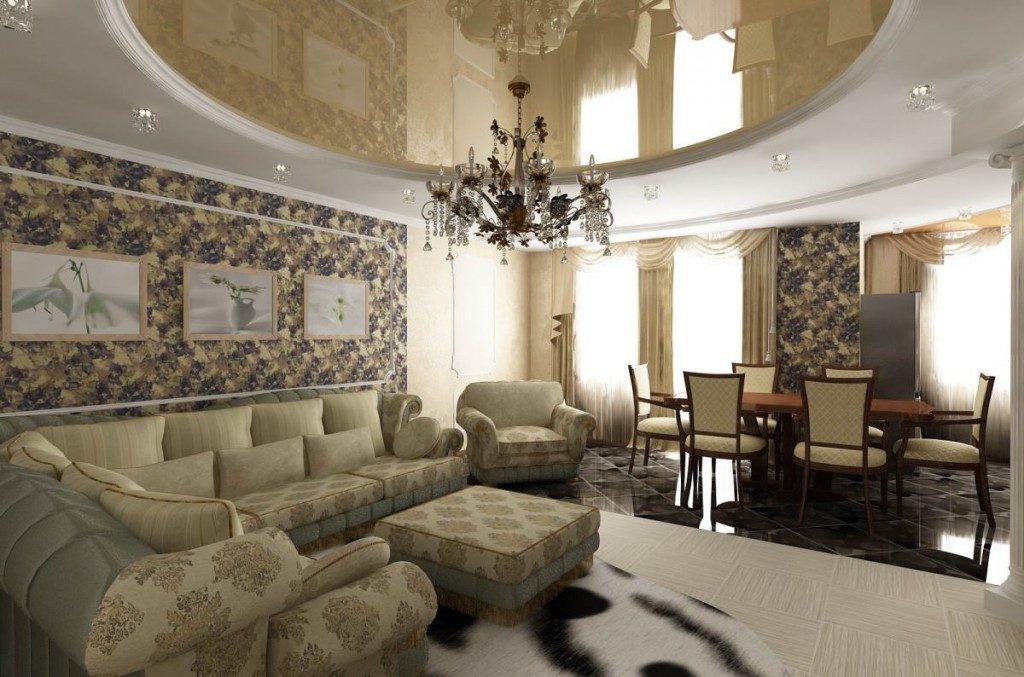 Просторная гостиная-столовая с люстрой в классическом стиле