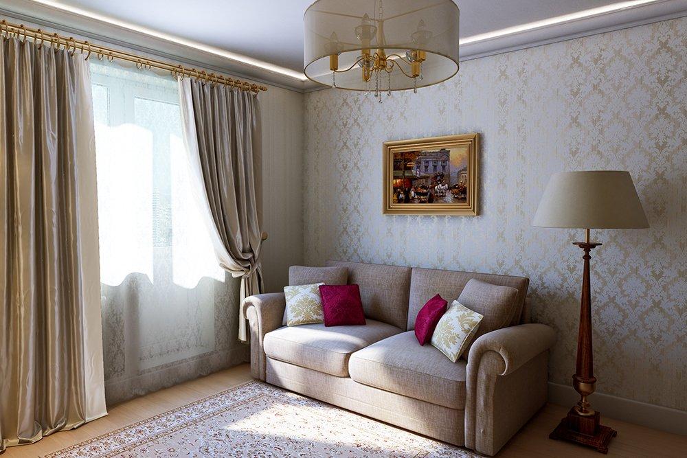 Маленькая гостиная в неоклассическом стиле с красивой люстрой