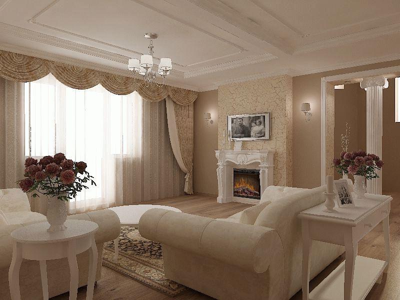 Гостиная в стиле неоклассика с оштукатуренным потолком