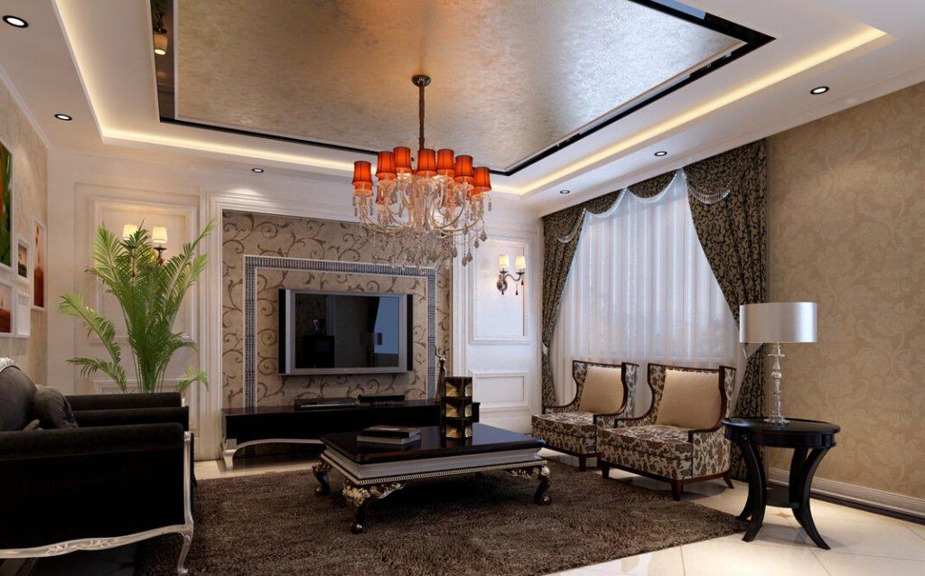 Неоклассическая гостиная с растительным рисунком на обоях