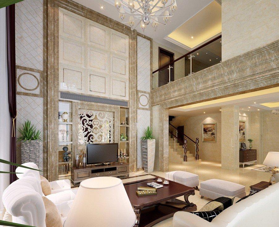 Двухуровневая гостиная в неоклассическом стиле