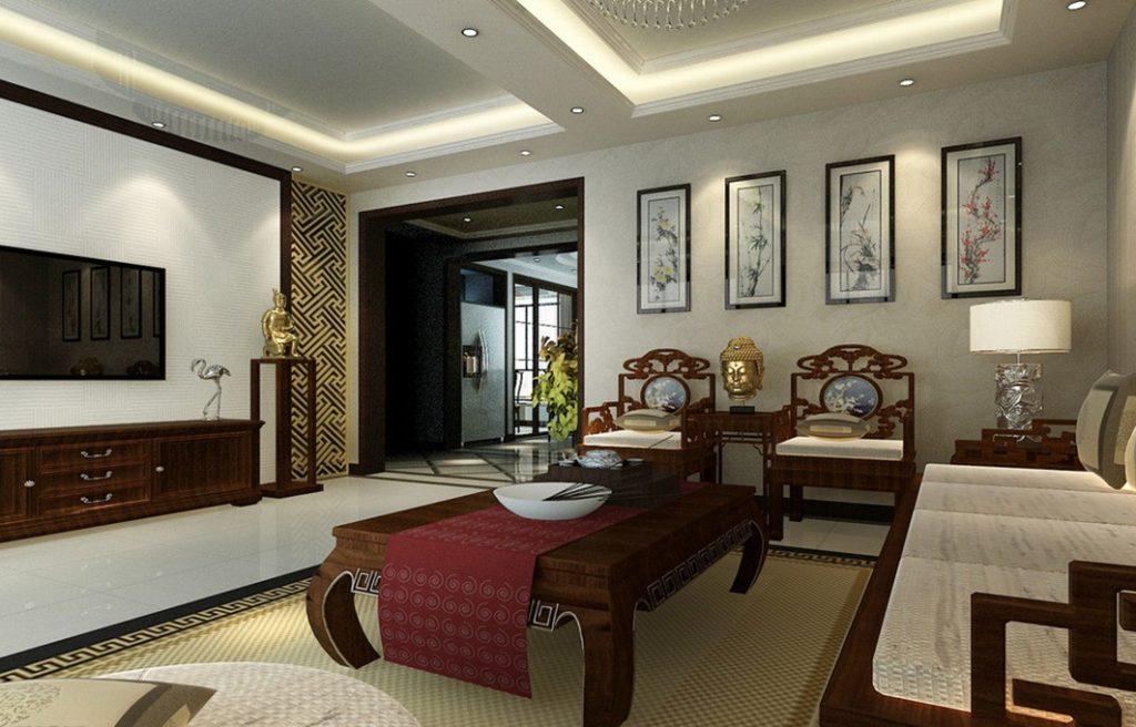 Гостиная в современном стиле с египетскими мотивами