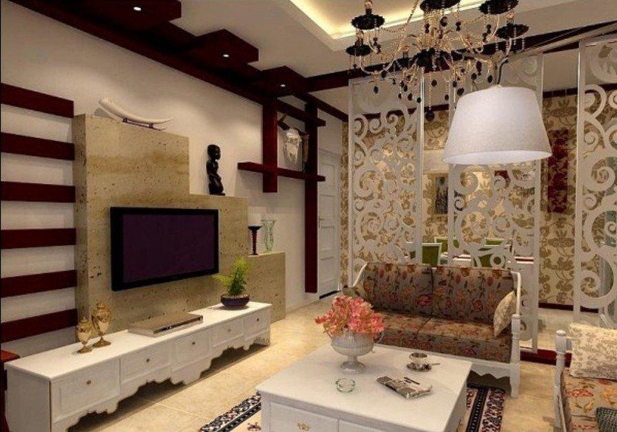 Гостиная в современном стиле с классическим декором