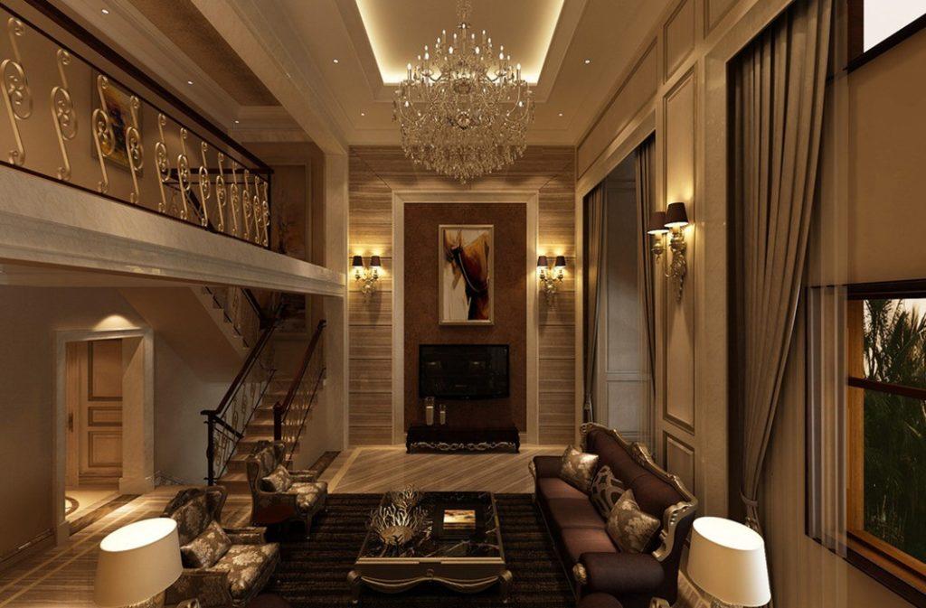 Двухуровневая гостиная в стиле современной классики