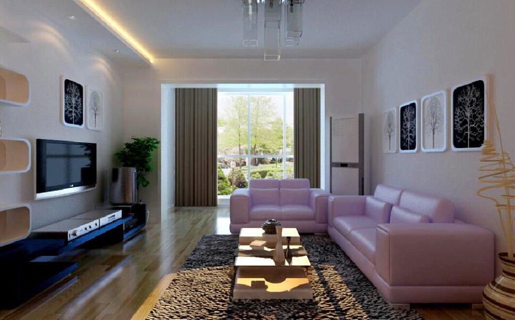 Разреженная планировка гостиной в неоклассическом стиле