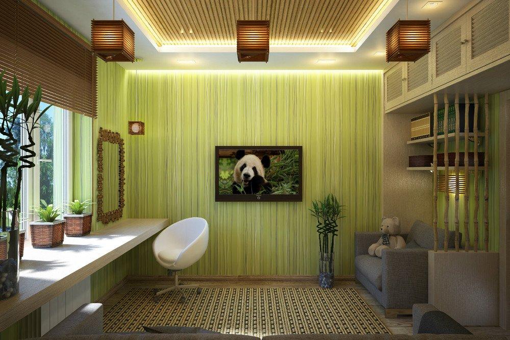 Деревянные жалюзи в комнате эко-стиля