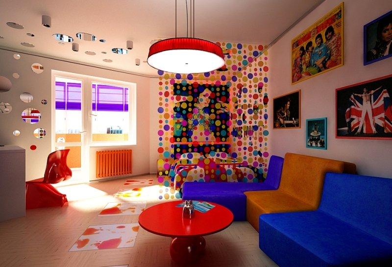 Фиолетовые шторы в комнате поп-арта
