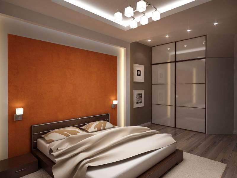 Спальня в стиле хай-тек с оформлением изголовья в золотисто-оранжевых тонах
