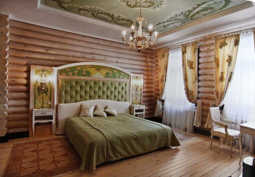 Спальня в бежево-оливковых тонах в стиле кантри